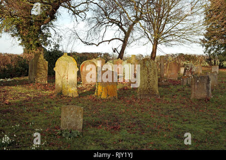 A view of headstones in early morning sunlight in the corner of a South Norfolk churchyard at Shelton, Norfolk, England, United Kingdom, Europe. - Stock Image