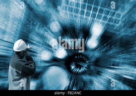 technician pointing at surreal circuit-board - Stock Image