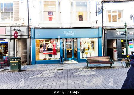 Seasalt clothing store, Seasalt Cornwall clothing shop, Seasalt shop, Seasalt sign, Seasalt store, Seasalt clothing, Seasalt shop front, Seasalt, UK - Stock Image