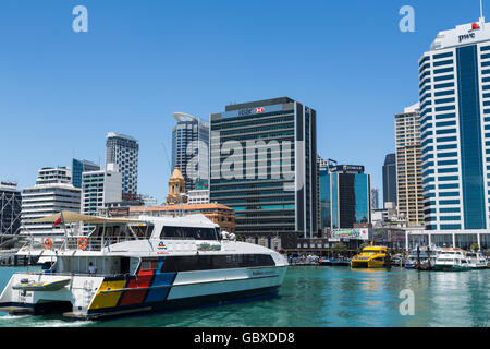 Ferry arrives at Auckland waterfront ferry terminal, New Zealand - Stock Image