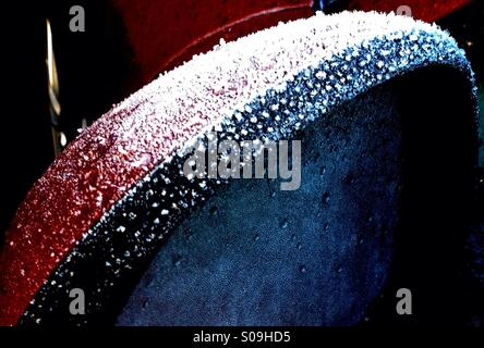 Frost on car Wing Mirror - Stock Image
