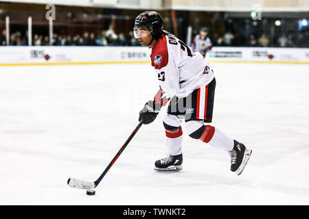 MELBOURNE, AUSTRALIA - JUNE 21: Jordan Owens of Canada skates with the puck in the 2019 Ice Hockey Classic in Melbourne, Australia - Stock Image
