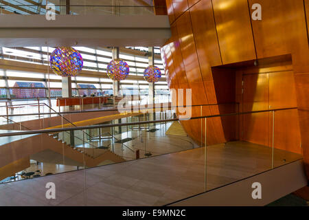 "Royal Danish Opera House in Copenhagen, Denmark, foyer, by ""Henning Larsen Architects"" - Olafur Eliasson hanging - Stock Image"
