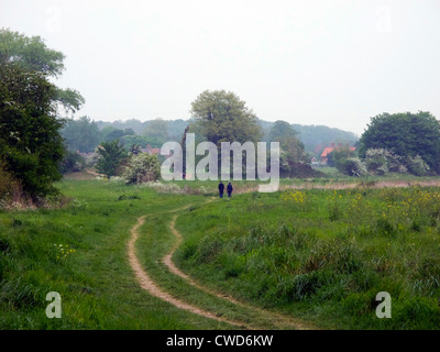 Two people walk into the distance on the tow path on the Thames between Culham and Abingdon - Stock Image