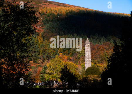 the Round Tower at Glendalough in County wicklow - Stock Image