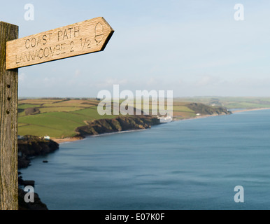 Coast path sign towards Lannacombe in South Devon - Stock Image