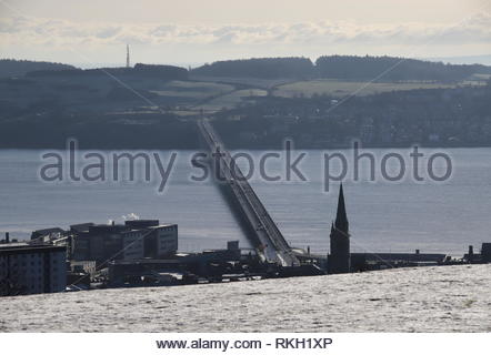 Elevated view of Tay Road Bridge and River Tay in winter Dundee Scotland  January 2019 - Stock Image