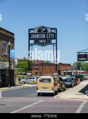 JOHNSON CITY, TN, USA-4/27/19: View of the Johnson City sign in King Commons Park from the corner of Market and Commerce Streets. - Stock Image