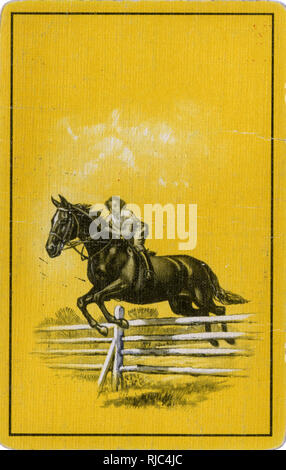 Playing Card Back - Female Horse jumping a fence. - Stock Image