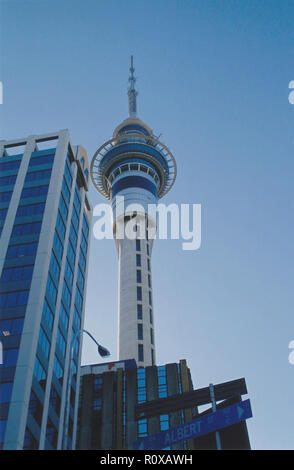 Sky Tower in Auckland New Zealand completed in 1997 it is the it the tallest freestanding structure in the Southern Hemisphere standing 328 metres or 1076 feet tall. - Stock Image