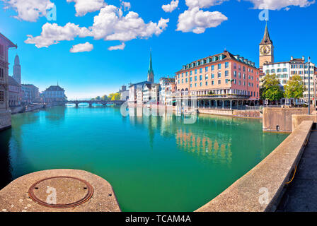 Zurich and Limmat river waterfront colorful panorama, largest city in Switzerland - Stock Image
