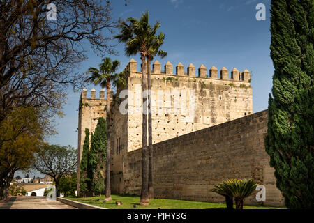 Spain, Jerez de La Frontera, Calle Puerto, Alcazar de Jerez, fort beside Alameda Vieja - Stock Image