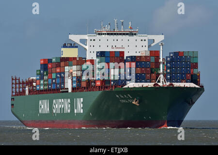 Containervessel CSCL Star passing Cuxhaven bound for Hamburg - Stock Image