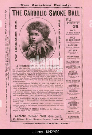 Carbolic Smoke Ball, Child, 1891 advert for the patent medicine famous for the case brought by Carlill in 1892 against - Stock Image