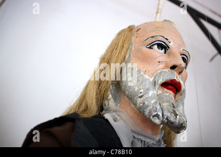Close of of a large old male Sicilian marionette / puppet with beard. - Stock Image
