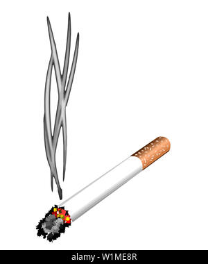 cigarrete unhealthy bad toxic tabacco nicotine illustration smoke - Stock Image