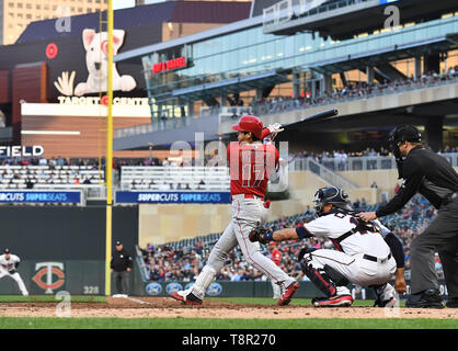 Los Angeles Angels' designated hitter Shohei Ohtani hits into a double play in the fourth inning during the Major League Baseball game against the Minnesota Twins at Oriole Park at Target Field in Minneapolis, Minnesota, United States, May 13, 2019. Credit: AFLO/Alamy Live News - Stock Image