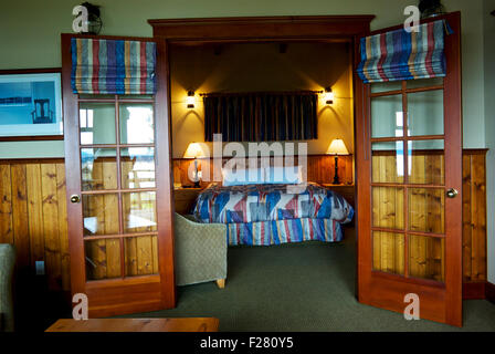 Bedroom guest suite 121 April Point Resort Quadra Island BC Canada - Stock Image