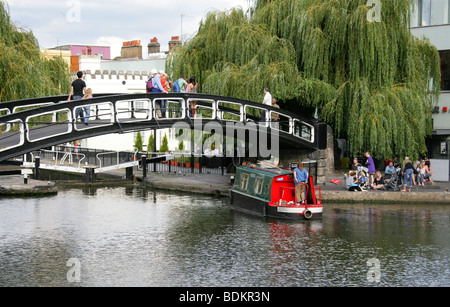 The Bridge Over the Regent's Canal at Hampstead Road Lock, Camden, London, UK - Stock Image