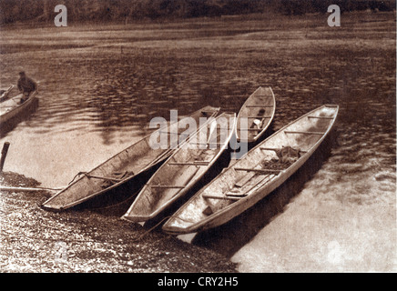 Quinault Shovelnose Canoes, 1912, by Edward S Curtis - Stock Image
