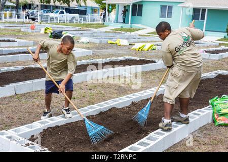 Miami Florida Liberty City Liberty Square public housing ceremony dedication community garden plot allotment urban gardening gre - Stock Image