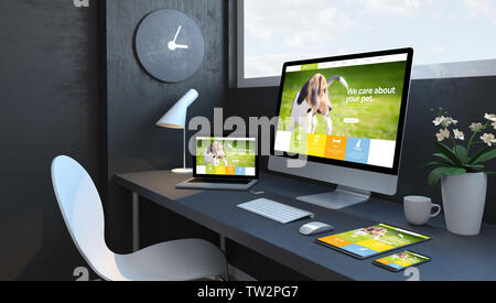 Navy blue workspace with responsive devices 3d rendering pet web design - Stock Image