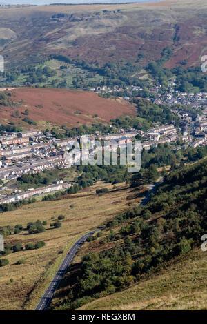 Bwlch y Clawdd looking down towards Cwm Parc and Treorchy Rhondda Valley Mid Glamorgan Wales - Stock Image