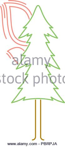 colored linear icon of a burning tree. isolated vector illustration - Stock Image