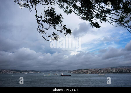 Wind over the Bosporus Strait in Turkey. Ships on the water - Stock Image