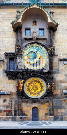 Prague Astronomical Clock (Orloj) in the Old Town of Prague - Stock Image