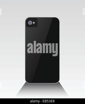 Black smartphone standing with lens - Stock Image