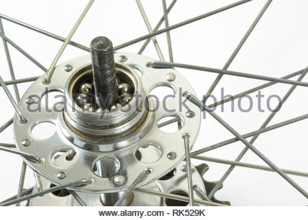 Bicycle wheel hub, bearing and spokes - Stock Image