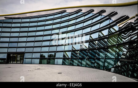 The frontage and main entrance of the Museo Casa Enzo Ferrari in Modena Italy. It celebrates the life and work of - Stock Image