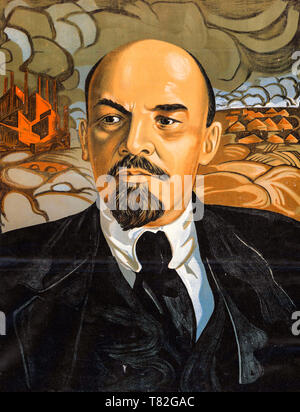 Vladimir Ilyich Lenin, portrait, soviet propaganda poster (detail), 1924 - Stock Image