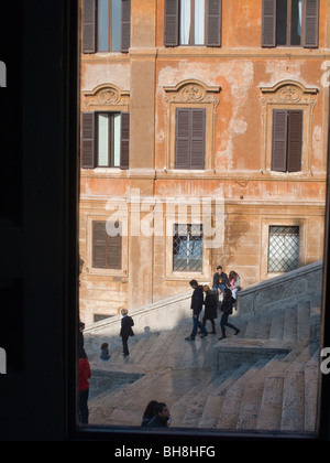 Spanish Steps viewed from window of Keats House Rome Lazio Italy - Stock Image