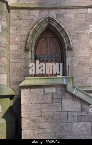 St. Paul's Episcopal Cathedral, Architectural Detail of Side Portal, Church Street, Downtown Buffalo, NY - Stock Image