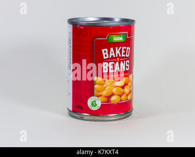 ASDA own brand baked beans in tomato sauce, sold in a 410g tin. Isolated on white. - Stock Image