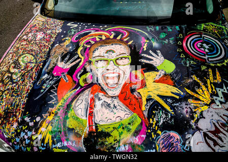 Murals & hand painted art on car bonnet - Stock Image