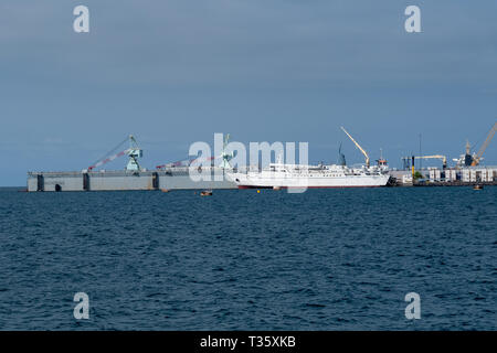 The ASABA 2, a Roll-on-Roll-Off ship is docked in the harbour at Malabo, Equatorial Guinea - Stock Image