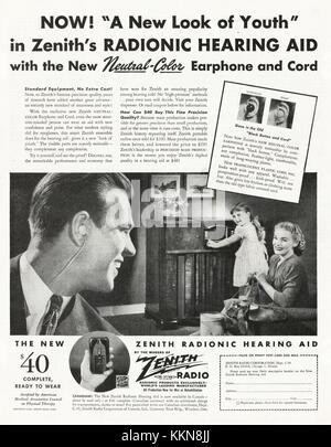1943 U.S. Magazine Zenith Radio Advert - Stock Image