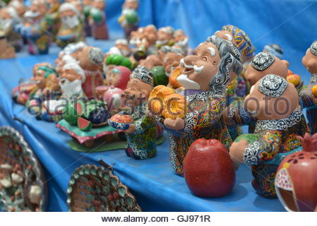 Uzbek national Souvenirs are sold at the Central Bazaar in Tashkent. - Stock Image