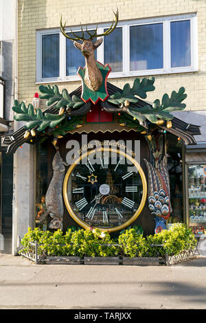 Clock labelled as the biggest cuckoo clock in the world in Wiesbaden, Germany. - Stock Image
