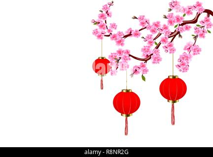 Chinese New Year. Sakura and red lights. Cherry flowers with buds and leaves on the branch. illustration - Stock Image