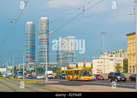 Prospekt Mira, at VDKNh, with Trikolor buildings, Alexeyevsky and Rostokino Districts, Moscow, Russia - Stock Image