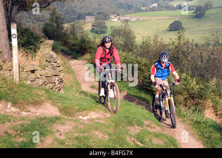 Mountain biking Hayfield Peak District National Park Derbyshire England UK GB - Stock Image