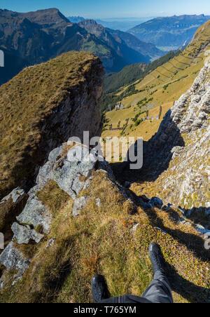Hiking at the Männlichen mountain - Stock Image