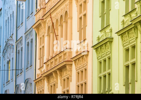 Prague city street, typical pastel-coloured buildings in the Stare Mesto (Old Town) district of Prague, Czech Republic. - Stock Image