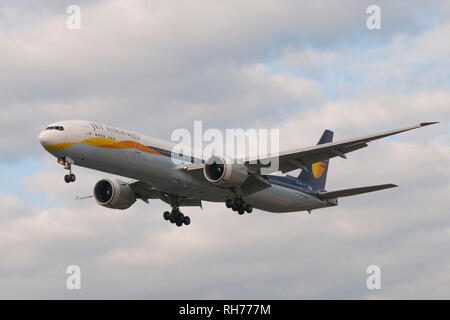 London, Uk - August 6, 2013 - A Jet Airways airplane lands at Heathrow Airport in London - Stock Image