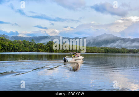 Boat on the Daintree River, Daintree National Park, Wet Tropics, Far North Queensland, FNQ, QLD, Australia - Stock Image