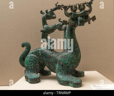 Bronze Mythical Beast. 770 BC - 476 BC (The Spring and Autumn Period) Unearthed at Xujialing Tombs, Xichuan County, Henan Province, China in1990 - Stock Image